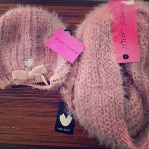 Betsey Johnson hat and scarf.